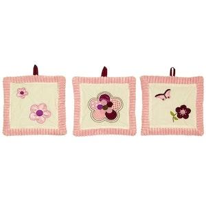 Babyhood Amani Bebe 3pc Wall Hanging Raspberry Garden