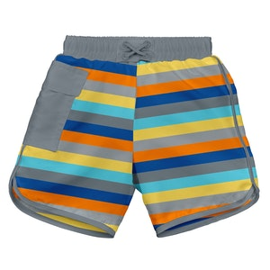 i play. Mix & Match Pocket Board Shorts w/Built-in Reusable Absorbent Swim Diaper-Gray Multistripe