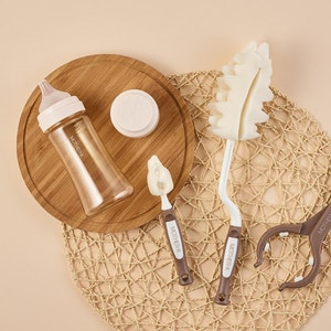 Mother-K Sponge Feeding Bottle Rolling Brush & Teat Set (Cocoa)