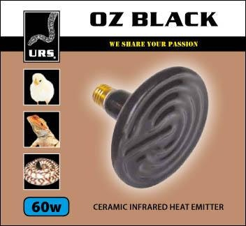URS Ceramic Oz Black Heat Emitter 60w