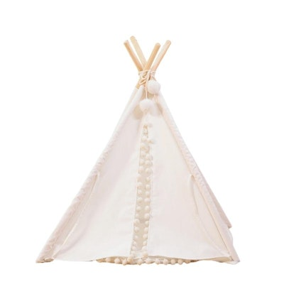 House of Pets Delight Pom Pom Teepee With Mat in White