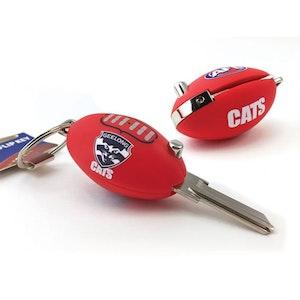 Creative Keys AFL Footy Flip Key Blank with Keyring LW4 – Geelong Cats