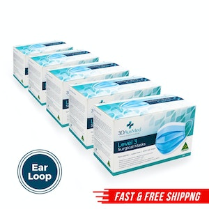 Level 3 Surgical Mask - Ear loop - 1200 pack (24 x 50 packs)