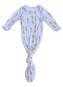 Keep Me Cosy® Bamboo Baby Knotted Gown - Olive Leaves