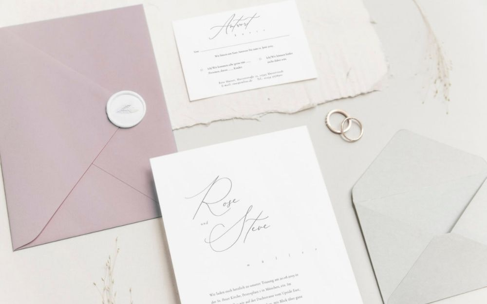 Hochzeitspapeterie Einladung in altrosa
