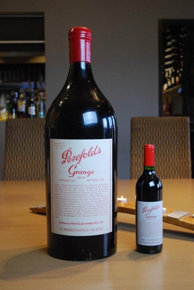 1997 Penfolds Grange 12L bottle compared to Penfolds Grange 700ml bottle