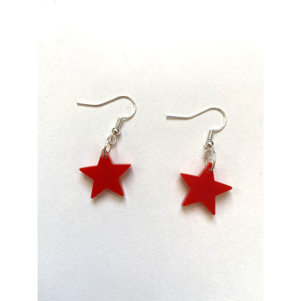 One of a Kind Club Red Solid Star Acrylic Earrings