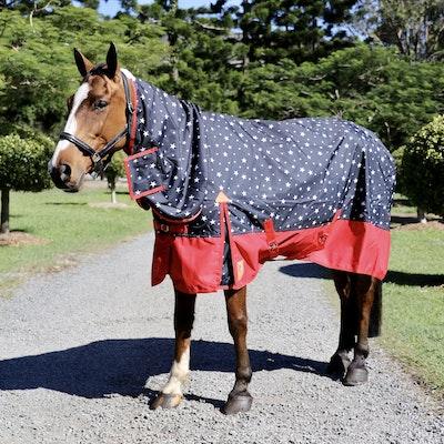 Capriole Equestrian 600D Navy & Red Stars Waterproof Combo – Rainsheet.