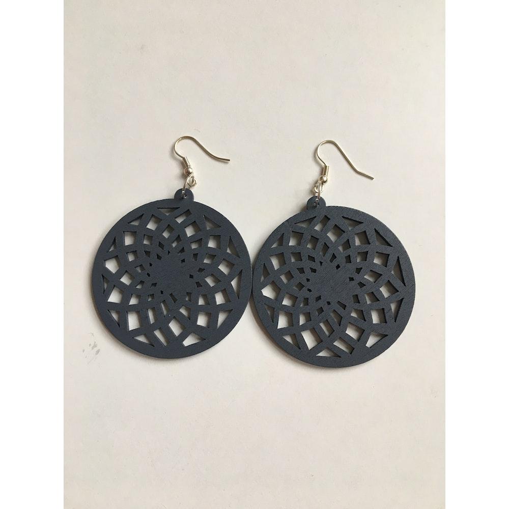 One of a Kind Club Grey Wood Spiral Circle Dangle Earrings