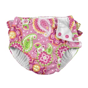 i play. Mix & Match Ruffle Snap Reusable Absorbent Swimsuit Diaper-Light Pink Paisley Elephant