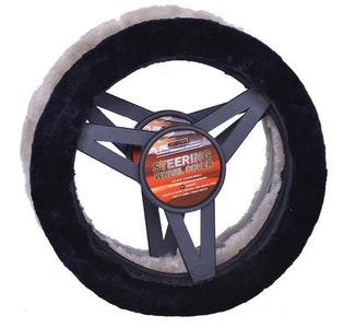 Sheepskin Steering Wheel Cover Luxury - Charcoal