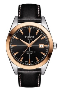 Tissot Gentleman Powermatic 80 Silicium Solid 18K Gold Bezel with Black Leather Strap