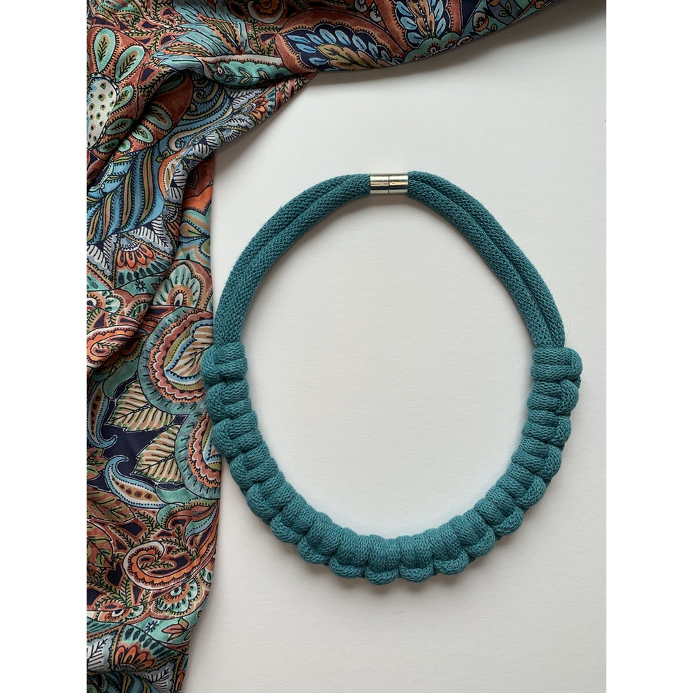 Form Norfolk Hitch Knot Necklace In Teal Blue
