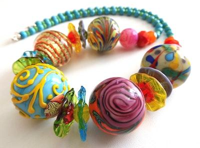 Beadoire Glass Lampwork Glass Bead Necklace   'Carnival' 2021