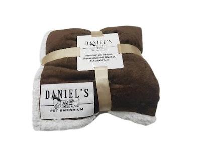 Premium Plush All Seasons Reversable Pet Blanket - Brown | Daniel's Pet Emporium