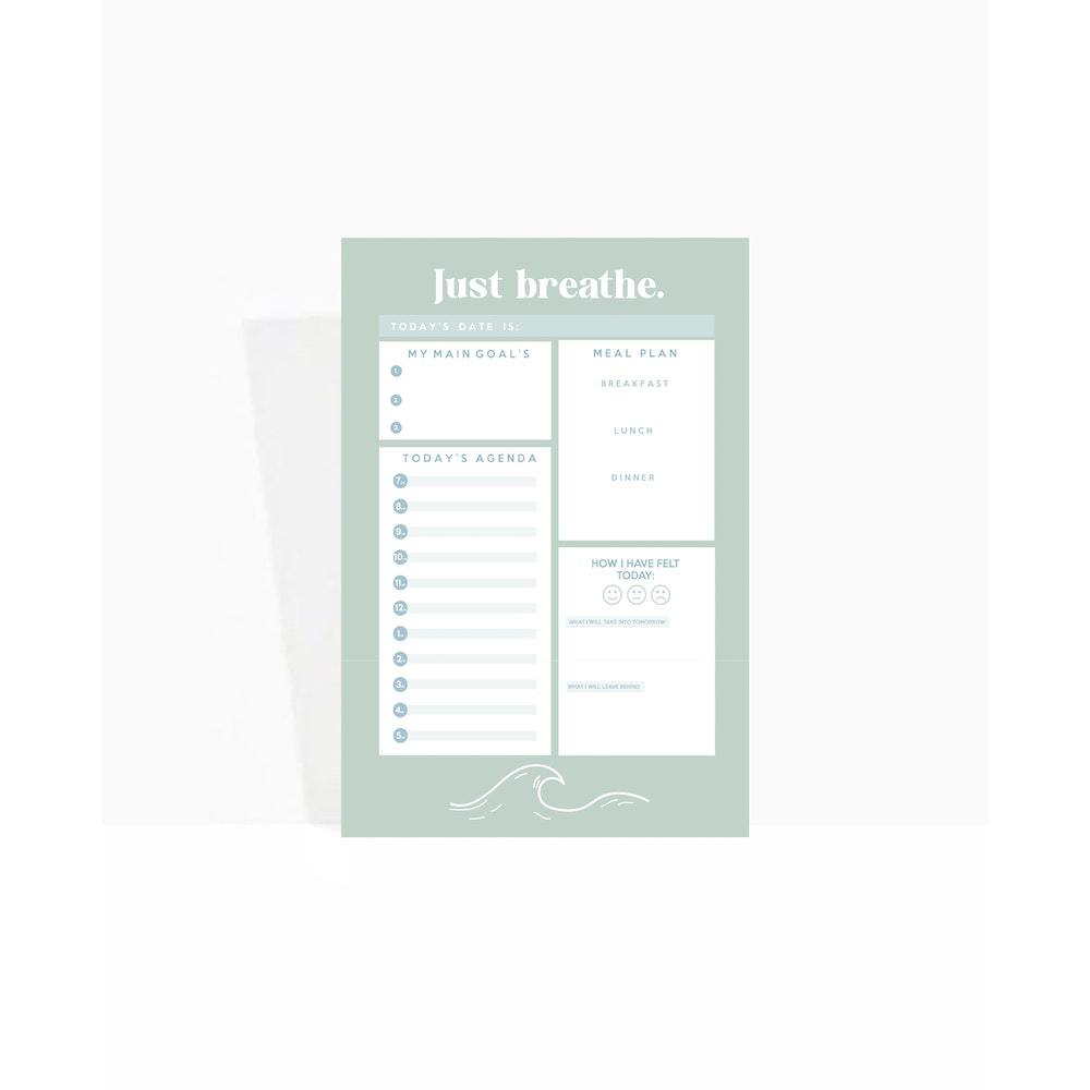 Brew Norfolk A5 Daily Planner Pad - Just Breathe
