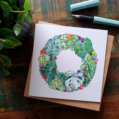 Watercolour by Cat Set of 5 Indoor Plant Christmas Card 2021
