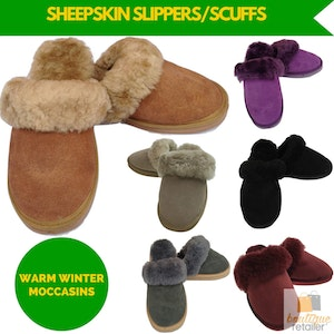Boutique Medical 100% Sheepskin Moccasin Slippers Winter Genuine Scuffs Slip On Mens Womens New