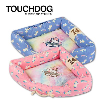 TOUCHDOG The Song Of Unicorn Premium Designer Triangle Dog Bed - Blue