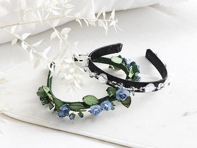Jenny's Original Designs Black Headband with Glass beads decoration