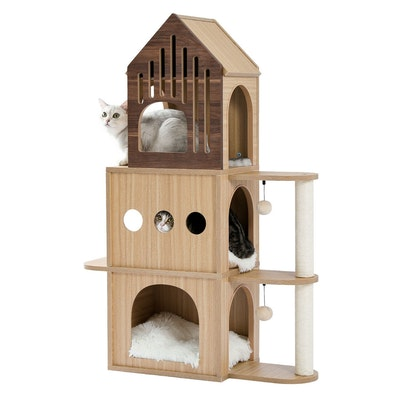 House of Pets Delight Luxury Wooden Cat Castle House With Storage Space
