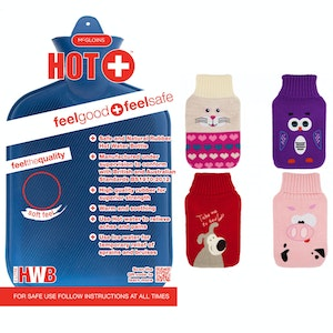 Boutique Medical 2L HOT WATER BOTTLE with Knitted Cover Winter Warm Natural Rubber Bag - ACCC Approved