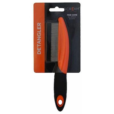 ScreamPet Scream Fine Detangler Comb Grooming Tool for Dogs Loud Orange