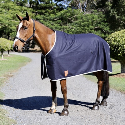 Capriole Equestrian Navy Wool Show Rug