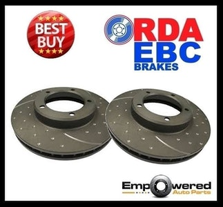 DIMPLED SLOTTED RDA REAR DISC BRAKE ROTORS for Lexus GS300 *Solid Disc 1993-2005