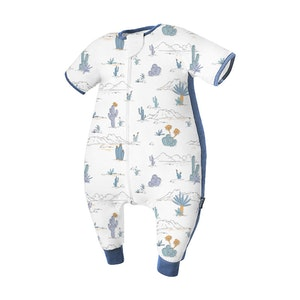 Domiamia  Silky Bamboo Cotton Short Sleeve Sleepsuit with Stretchy Side Panel- Beach Map (0.23 Tog)