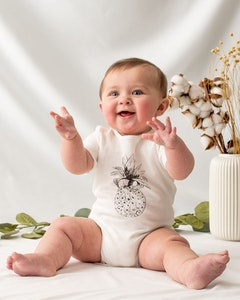 Certified Organic Cotton Pineapple Bodysuit- Natural White
