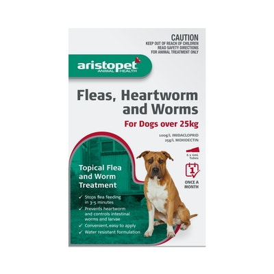 Aristopet Animal Health Fleas, Heartworm And Worms For Dogs Over 25Kg (6 packs)