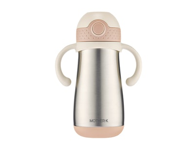 Mother-K Insulated Thermos Stainless Steel Straw Bottle (350mL) - Vanilla Pink
