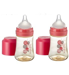 Mother-K PPSU Feeding Bottle 180ml - Red (with SS teat) TWIN PACKS