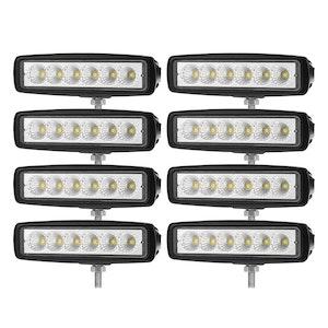 LIGHTFOX 8x 6inch LED Work Light Bar Flood Reverse Fog Driving Lamp Offroad 4x4