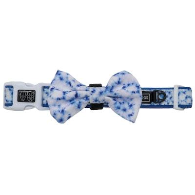 Big & Little Dogs Blue Tie Dye Collar & Bow Tie