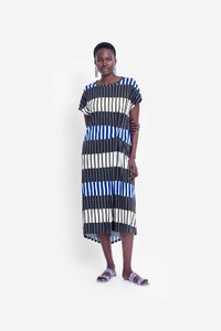 ELK VALBY DRESS - OLIVE STRIPE