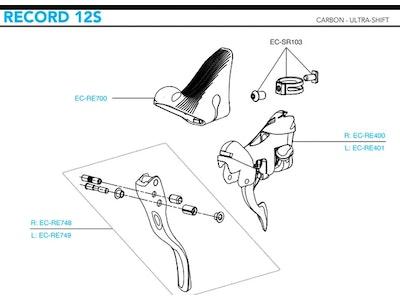 Campagnolo EC-RE400 Right-Hand Record Ergopower 12S W/O Brake Lever