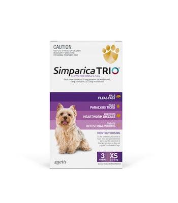 SIMPARICA TRIO Purple Flea, Tick & Worm Chews 2.6-5kg 3 Pack