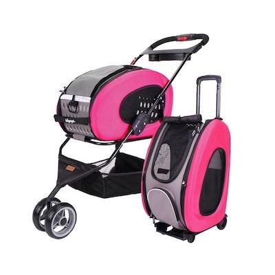 Ibiyaya 5-in-1 Combo EVA Pink Pet Carrier-Stroller (Luxury package)