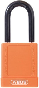 ABUS 74/40 Lock Out Tag Out (LOTO) lightweight aluminium padlock with orange vinyl encased body keyed to differ