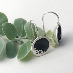Sterling silver round black ring drop earrings