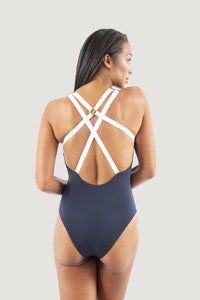 1 People Santorini Crisscross One-Piece Swimsuit in Dark Blue Pebble