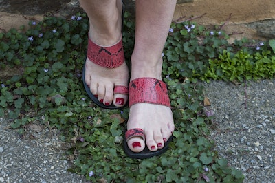 Indian-Red Snake Print Sandal, Women's Toe Loop Sandal, Slide Sandal, Choice of Width Fitting, Pointed or Round Toe, Flat Leather Sandal