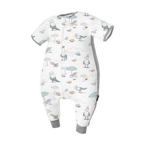 Domiamia  Silky Bamboo Cotton Short Sleeve Sleepsuit with Stretchy Side Panel- Blue Bird Beach (0.23 Tog)