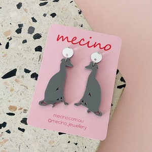 Greyhounds - Grey / Silver Acrylic Dog Earrings