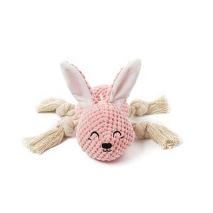DoggyTopia Pink Bunny Rope Squeaker Toy