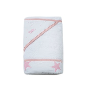 NEW! - Hooded Towel - Spots & Stars - PALE PINK