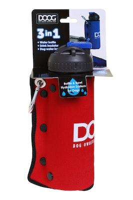 Doog 3 in 1 Water Bottle  / Bowl - Red