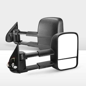 Pair Extendable Towing Mirrors for Mitsubishi Triton MQ/MR 2015 - ON Black